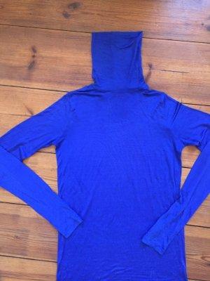 100% Seide: leuchtend blaues Top/ Minikleid, Gr. S, Rollkragen