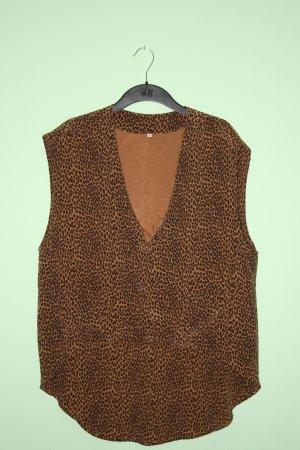 100% Seide Vintage Seidenweste Leo Leoparden Print Weste Oversize 38 40