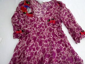 100% Seide ZARA Tunika T-Shirt Longshirt Shirt Bluse Chiffon Bllumen Print Kurzarm V Ausschnitt purpur violett nude Stickerei Pailetten lila rot creme