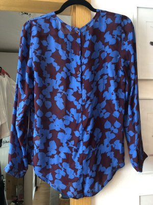 Custommade Silk Blouse dark brown-blue