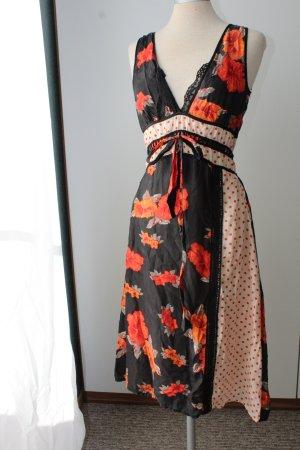 100% Seidenkleid Seide Kleid knielang Sommerkleid Spitze D.E.P.T. Gr. 36 S UK 10 Punkte Blumen
