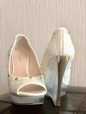Versace Sandaletto con tacco alto bianco-oro