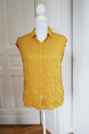 100% Viskose Senfgelb Gelb Bluse Hemd luftig oversized 38 M