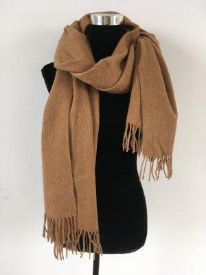 100% Wolle großer Wollschal Braun Beige Fransen Winter Schal NEU Maison Scotch