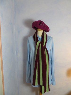 105€ Paul Smith Vintage Burgundy Stripe Wool Knit Luxus Scarf 100% Lammwolle langer Schal Streifen