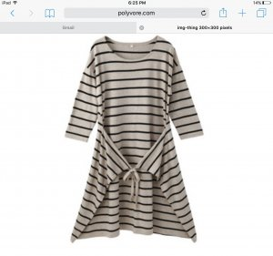 119€ Muji Japan Wrap Dress Kleid Geringelt // Baumwolle Seide Mix // L