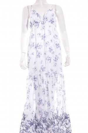 120% HNO Maxikleid weiß-blau florales Muster Romantik-Look