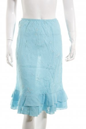 120% Lino Asymmetry Skirt turquoise casual look