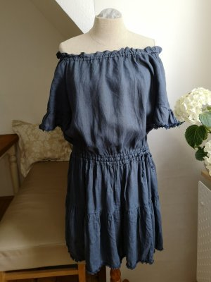 120% Lino Shortsleeve Dress multicolored linen