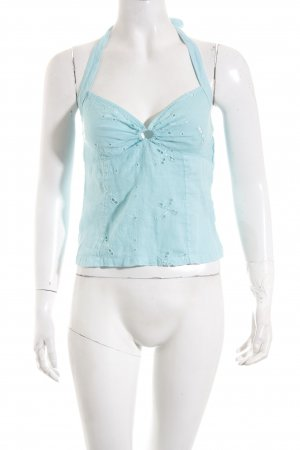 120% Lino Halter Top turquoise Gypsy style