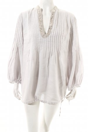 120% Lino Tunic Blouse pale blue-silver-colored shimmery
