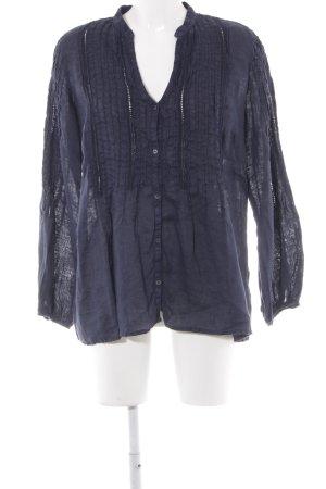 120% Lino Blusa a tunica blu scuro stile casual