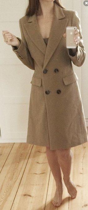 123 Paris Luxus Mantel beige Wollmantel 80% Wolle 34 XS wie neu
