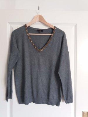 1.2.3 Paris V-Neck Sweater grey-dark grey mixture fibre