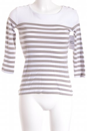 123 Paris Crewneck Sweater white-beige striped pattern casual look