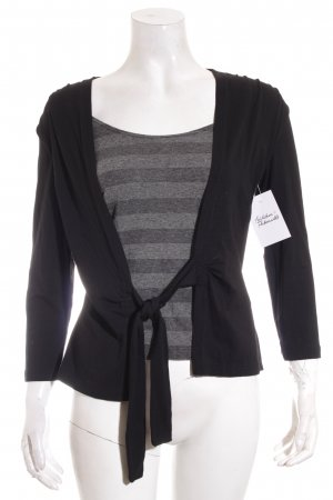 123 Paris Strickshirt schwarz-grau Casual-Look