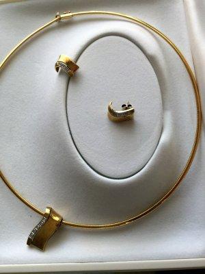 14 Karat Halsreif Collier mit Achtkantdiamanten Anhänger und Ohrringe