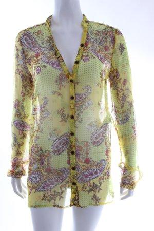 (15) Marc Aurel transparente Bluse gelb-gemustert