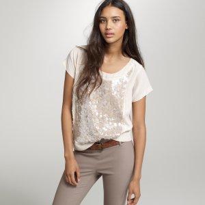 150€ J CREW Seidenbluse Seidenshirt Nude Seide Pailetten Perlen Shirt Oversized Maje Vanesa Bruno S M