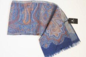 150€ Luxus Wollschal Schal Paisley Tuch blau orange braun Winter warm elegant edel NEU