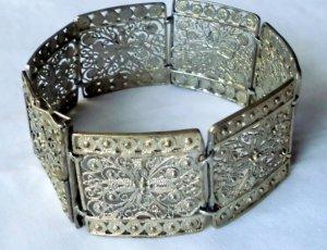 1910-1920er Jahre antik Jugendstil Art Deco Armband Silber floral Design Silberarmband
