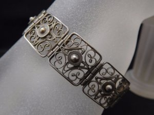 1910-1920er Jahre antikes Jugendstil Art Deco Armband 835 Silber florales Muster filigranes Design Silberarmband