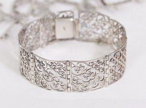 1910-1920er Jahre antikes Jugendstil Art Deco Armband Silber florales Muster floral Design Silberarmband