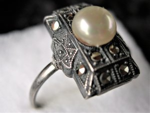 Vintage Silver Ring silver-colored-cream real silver