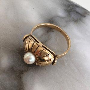 1910 Art Deco antik Ring 585 Gold mit einer echten Perle Echtgold Jugendstil