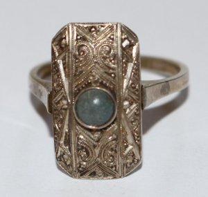 1910 JUGENDSTIL antik Silber Ring Edelstein blau sehr selten DESIGN Handarbeit Edelstein silver Art deco