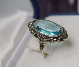 1920 Antiker Blautopas Markanten Ring silber835 Art Deco Edelstein Jugendstil