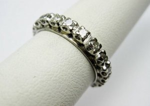 1920s Art deco 1ct Eterny, Weddingbandring, Platin und echte Diamantén, Ehering