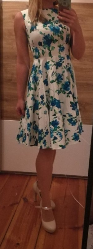 1950er Rockabilly Petticoat Kleid weiß blau