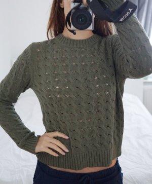 199€ Delicatelove Pullover 100% Baumwolle Olivgrün Grün Strick S 36