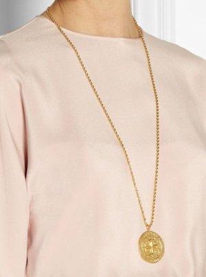 199€ Kenneth Jay Lane Net A Porter Statement Collier Gold Kreuz Vergoldet Jades