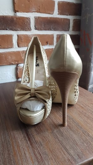 Peep Toe Pumps gold-colored