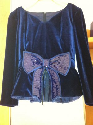Glanzende blouse blauw Viscose