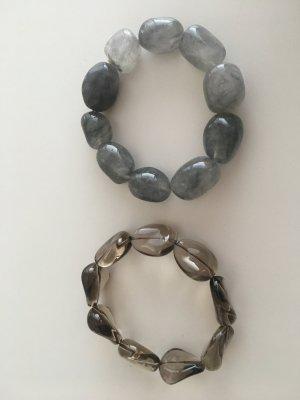 2 Armbänder echt Halbedelsteine grau