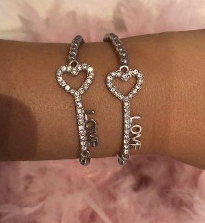 2 Armbänder Herz Schlüssel