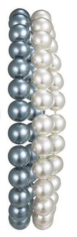 2 Armbänder Perlen weiß grau anthrazit Armband Damen NEU in OVP Perlenarmband IN