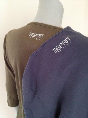 2 Basic-Shirts, 3/4 Arm, Longshirts von ESPRIT, Khaki + blau, Gr. L, 3/4 Arm
