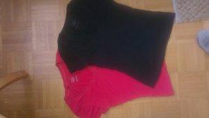 2 Basic-Shirts von Tchibo schwarz/koralle