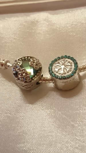 Charm silver-colored-green