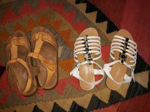 2 * Damen Flach Sandalen Espadrille Riemchen Schuhe 36