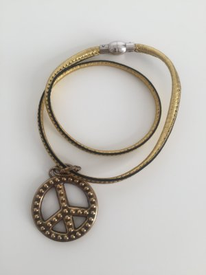 2 fach Armband Leder Gold Heide Heinzendorff mit Peace Anhänger