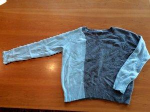2 Farben Cashmerepullover grau/blau