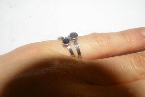 2 feine Silberringe Echtsilber 835 mit schwarzem Stein