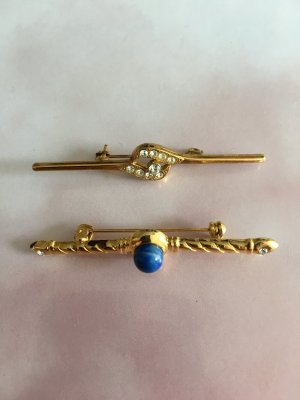 Brooch gold-colored-blue