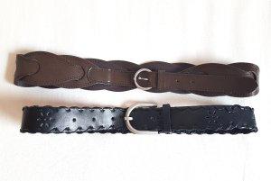 2 Gürtel Braun und Schwarz geflochten