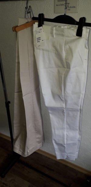 H&M Pantalon cigarette blanc-beige